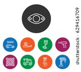 set of 9 machine outline icons...
