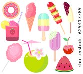 set of summer icons in the... | Shutterstock .eps vector #629417789