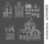 set of cute doodle houses.... | Shutterstock .eps vector #629420855