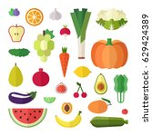 fruit and vegetable flat style... | Shutterstock .eps vector #629424389
