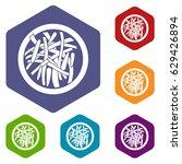 asian salad icons set hexagon... | Shutterstock .eps vector #629426894