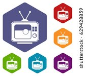 soccer match on tv icons set... | Shutterstock .eps vector #629428859