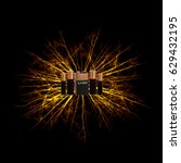 Small photo of Fiery Explosion of lithium-ion batteries on black background.
