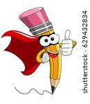 pencil mascot cartoon superhero ... | Shutterstock .eps vector #629432834