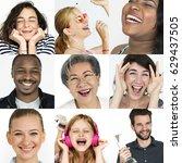 set of diversity people happy... | Shutterstock . vector #629437505