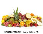 fresh tropical fruits against... | Shutterstock . vector #629438975