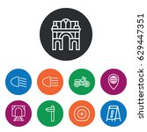 set of 9 road outline icons... | Shutterstock .eps vector #629447351
