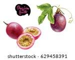 passion fruit watercolor... | Shutterstock . vector #629458391