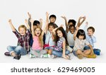 group of happiness little... | Shutterstock . vector #629469005