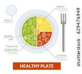 healthy plate concept. vector... | Shutterstock .eps vector #629476949