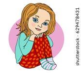 baby girl sitting  hugging her... | Shutterstock .eps vector #629478431