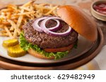 hamburger with french fries   Shutterstock . vector #629482949