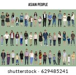 asian people full body set... | Shutterstock . vector #629485241