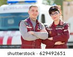 doctor with colleague paramedic ... | Shutterstock . vector #629492651