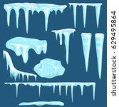 snow icicles  snow caps set.... | Shutterstock .eps vector #629495864
