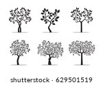 set black trees with leafs.... | Shutterstock .eps vector #629501519