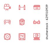 set of 9 pleasure outline icons ... | Shutterstock .eps vector #629510939