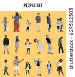 diverse of people enjoy music... | Shutterstock . vector #629512505