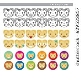 set of cat emoticons with... | Shutterstock .eps vector #629523857