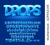 vector candy blue letters ... | Shutterstock .eps vector #629542145