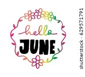 hello june with wreath doodle... | Shutterstock .eps vector #629571791