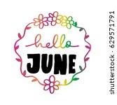 hello june with wreath doodle... | Shutterstock .eps vector #629571791