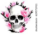 skull and flowers | Shutterstock . vector #629571911