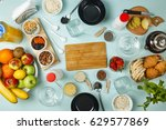 healthy breakfast. various... | Shutterstock . vector #629577869