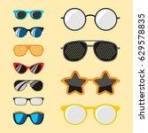 fashion set sunglasses... | Shutterstock .eps vector #629578835
