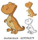 tyrannosaurus rex dinosaur.... | Shutterstock .eps vector #629596379