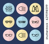 set of 9 vision outline icons... | Shutterstock .eps vector #629598599