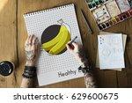 hands holding network graphic... | Shutterstock . vector #629600675