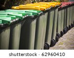 Row Of Large Green Wheelie Bin...