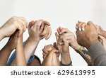 group of people holding hands... | Shutterstock . vector #629613995