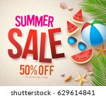 vector summer sale banner... | Shutterstock .eps vector #629614841