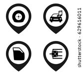 car icon. set of 4 car filled... | Shutterstock .eps vector #629616011
