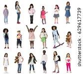 diverse of young girls children ... | Shutterstock . vector #629617739