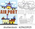 vector cartoon of plane landing ... | Shutterstock .eps vector #629623925