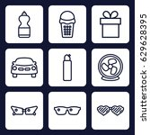cool icon. set of 9 outline... | Shutterstock .eps vector #629628395