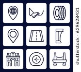 road icon. set of 9 outline... | Shutterstock .eps vector #629628431