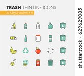 garbage waste recycling linear... | Shutterstock .eps vector #629629085