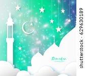 ramadan kareem. arabic mosque ... | Shutterstock .eps vector #629630189