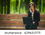 business lady sitting on a... | Shutterstock . vector #629631575