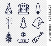 year icons set. set of 9 year... | Shutterstock .eps vector #629631629