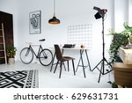 simple  white home workspace... | Shutterstock . vector #629631731
