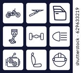 vehicle icon. set of 9 outline... | Shutterstock .eps vector #629633219