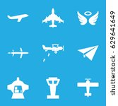 flight icons set. set of 9... | Shutterstock .eps vector #629641649