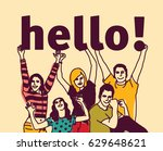 group young people and signs... | Shutterstock .eps vector #629648621