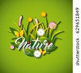 garden flowers and butterflies | Shutterstock .eps vector #629651849