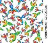 funny colorful parrots ... | Shutterstock . vector #629653901